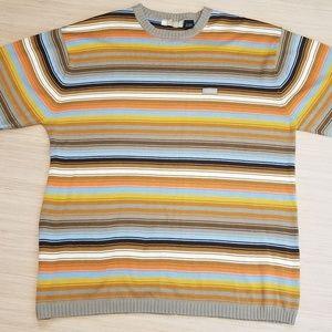 🍒ENYCE Men's Striped Short Sleeve Sweater SZ XXL